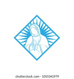 Our Lady Vector Logo illustrations outline in square template. Our Lady of lourdes, Blessed Mary Logo vector design template.