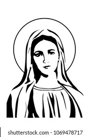 our lady virgin Mary face vector