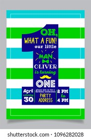 Our little man one year boy birthday party vector invitation card