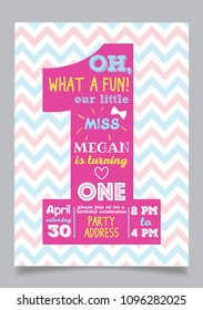 Our little miss one year boy birthday party vector invitation card