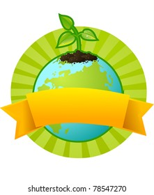 Our planet Earth and a little plant - a symbol of environmental protection