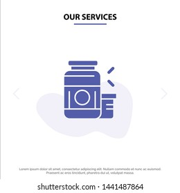 Our Services Bodybuilding, Gainer, Protein, Sports, Supplement Solid Glyph Icon Web card Template