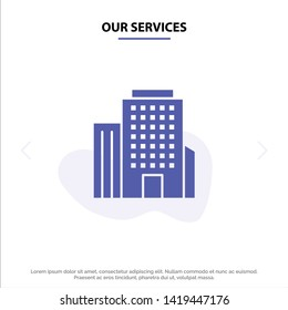 Our Services Building, Office, American Solid Glyph Icon Web card Template