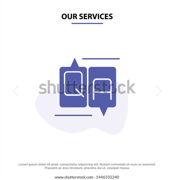 Our Services Chat, Comment, Education, Message Solid Glyph Icon Web card Template