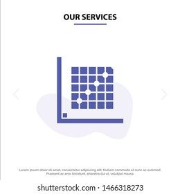 Our Services Color, Correction, Edit, Form, Grid Solid Glyph Icon Web card Template. Vector Icon Template background