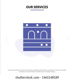 Our Services Door, Garage, Train Solid Glyph Icon Web card Template. Vector Icon Template background