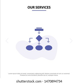 Our Services Flowchart, Algorithm, Business, Data Architecture, Scheme, Structure, Workflow Solid Glyph Icon Web card Template. Vector Icon Template background