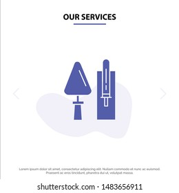 Our Services Trowel, Brickwork, Construction, Masonry, Tool Solid Glyph Icon Web card Template