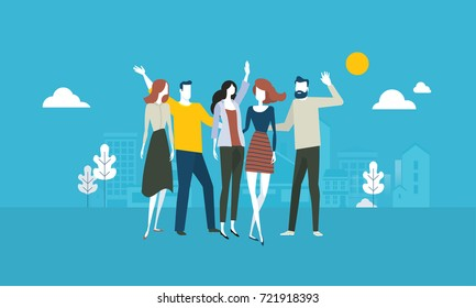 Our team. Flat design business people concept. Vector illustration concept for web banner, business presentation, advertising material.