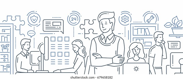 Our Team - Illustration of vector modern line flat design composition. Males and females at their work places. Office life, customer technical support service