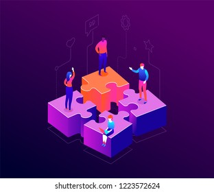 Our team - modern colorful isometric vector illustration