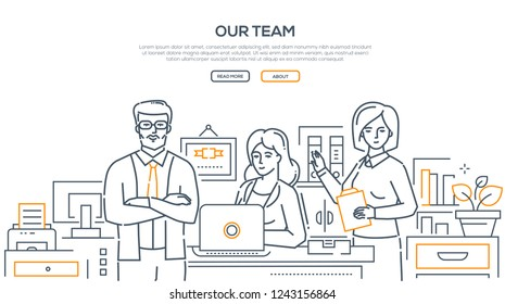 Our team - modern line design style banner on white background with copy space for your text. Business people, colleagues, staff posing at their work place in the office. Corporate relations concept
