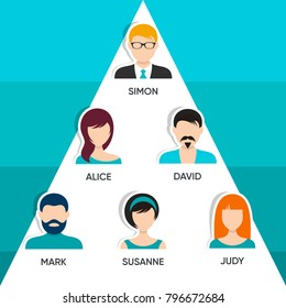 Our team web page presentation vector infographic pyramid