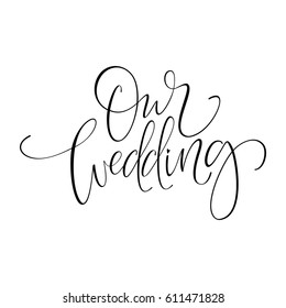 Vector Wordings Captions For Wedding Stock Illustrations Images