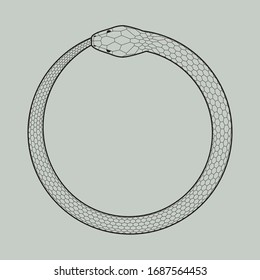 Ouroboros icon, symbol of snake eating its own tail. Vector illustration EPS 10