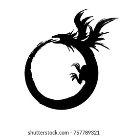 Ouroboros sign, alchemical magical symbol of reincarnation and kundalini, eps10 vector