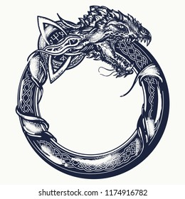 Ouroboros tattoo. Celtic dragon eating its own tail. Medieval uroborus symbol of eternity and infinity, life and death, beginning and end, magic, t-shirt design