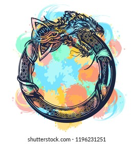 Ouroboros tattoo watercolor splashes style. Celtic dragon eating its own tail. Medieval symbol of eternity and infinity, life and death, beginning and end, magic, t-shirt design