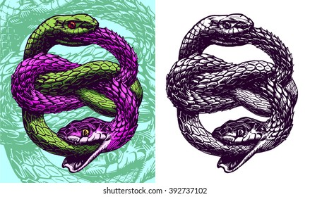 Ouroboros, vector illustration