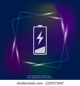 Out of battery charge vector neon light icon. Low battery. Layers grouped for easy editing illustration. For your design.