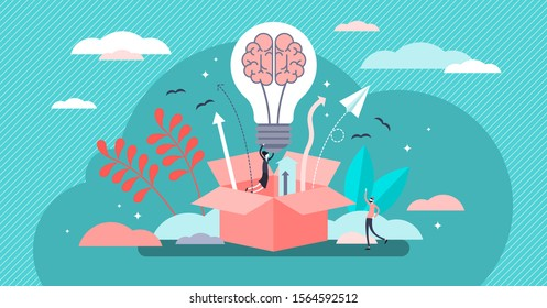 Out of the box creative idea, flat tiny persons concept vector illustration. Business innovation growth, new products development strategy and marketing goal. Brain and bulb symbol with upward arrows