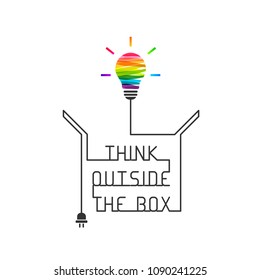 Out of the box thinking concept with colorful  light bulb. Wire forming the saying and box itself on white background.