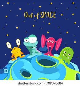 Out of space. Spaceship background with monsters in cartoon style