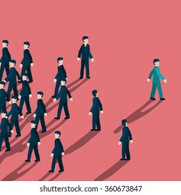 Out standing or unique style businessman walking to different way like turning his back to mass of people