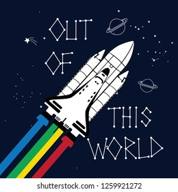 """Iron On Embroidered Applique Patch /""""Out of This World/"""" Space Planets Spaceship"""