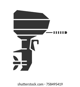 Outboard boat motor glyph icon. Boat engine. Silhouette symbol. Negative space. Vector isolated illustration