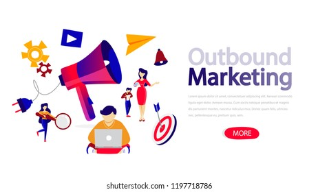 Outbound marketing horizontal banner for your website. Header for web page. Responsive app design. Professional support and contact concept. Flat vector illustration