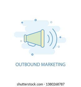 outbound marketing line concept. Simple line icon, colored illustration. outbound marketing symbol flat design. Can be used for UI/UX