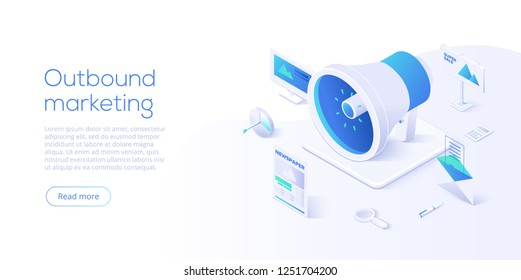 Outbound marketing vector business illustration in isometric design. Offline or interruption marketing background.