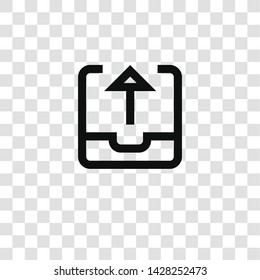 outbox icon from miscellaneous collection for mobile concept and web apps icon. Transparent outline, thin line outbox icon for website design and mobile, app development
