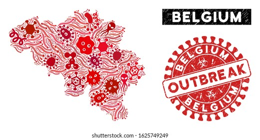 Outbreak collage Belgium map and red distressed stamp seal with OUTBREAK phrase. Belgium map collage formed with random contagion icons. Red rounded OUTBREAK seal stamp with dirty texture.