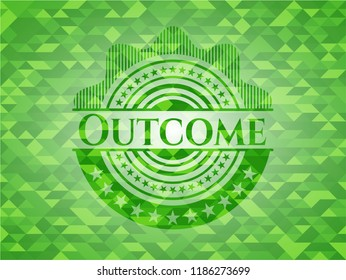 Outcome green emblem. Mosaic background