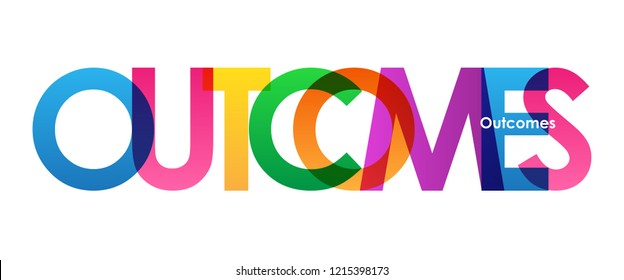 OUTCOMES rainbow letters banner