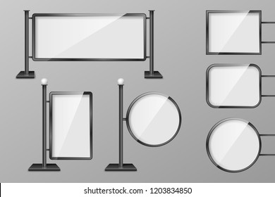 Outdoor 3d Retail lighting billboards. Set of Light boxes template. Realistic boards for advertising and design, Billboard and announcement lightbox screen. vector illustration