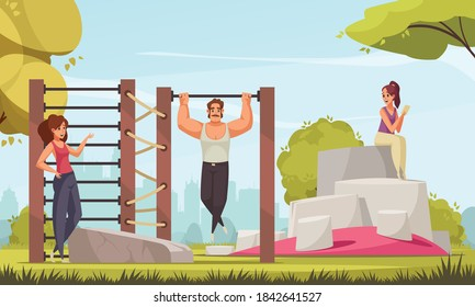 Outdoor activities composition with cityscape background clear sky and park scenery with training ground and people vector illustration