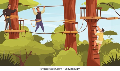 Outdoor activities composition with forest landscape and view of ropes course with tree stairs and people vector illustration