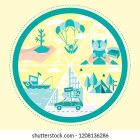Outdoor activities fun including bungee jump adopting cat camping travel sailing parachute planting in vector illustration chart