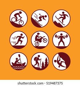 Outdoor activities icons set.