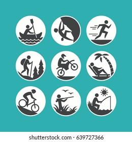 Outdoor activities. Vector icons set.