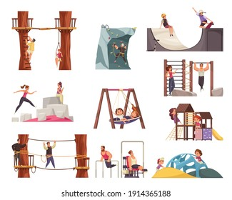 Outdoor activities workout set with rope park training ground and playground equipment images with human characters vector illustration