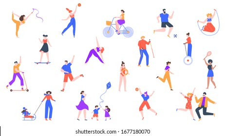 Outdoor activity. Characters jogging and do sports, outdoor healthy activities, riding kick scooter, roller skating and cycling vector icon set. Character activity sport, badminton illustration