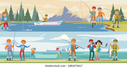 Outdoor activity horizontal banners with people fishing on lake and reporters interview fisherman catching big fish vector illustration