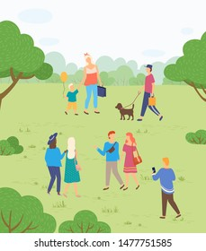 Outdoor activity on nature, people walking in park. Mother and son, guy with dog, couples and friends among trees and bushes on green meadow. Funny spending time on harvest festival. Flat cartoon