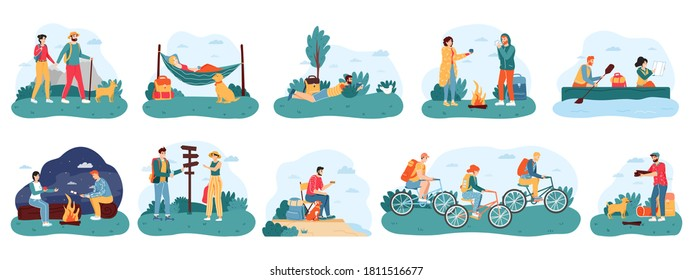 Outdoor activity tourism. Camping and hiking adventure travel, male and female active tourists, nature camping trip vector illustration icons set. People sitting near campfire, riding bikes