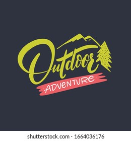 Outdoor Adventure. Modern calligraphy. Lettering phrase. Vector illustration. Isolated on black background. Design for t-shirt print.