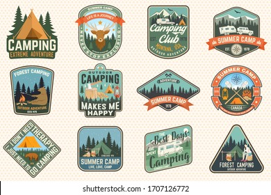 Outdoor adventure patch with quotes. Vector. Concept for shirt or logo, print, stamp, patches. Vintage typography design with camping tent, elk, bear, forest and mountain landscape silhouette